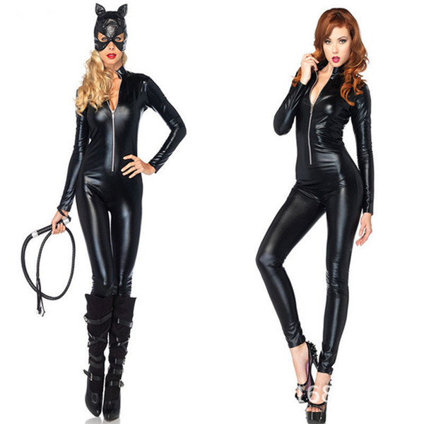 Venda quente Sexy Traje de Couro Do Falso Preto Sexy Catwoman Latex Catsuit Erótico Cat Costume Halloween Cosplay Masquerade Desgaste Terno