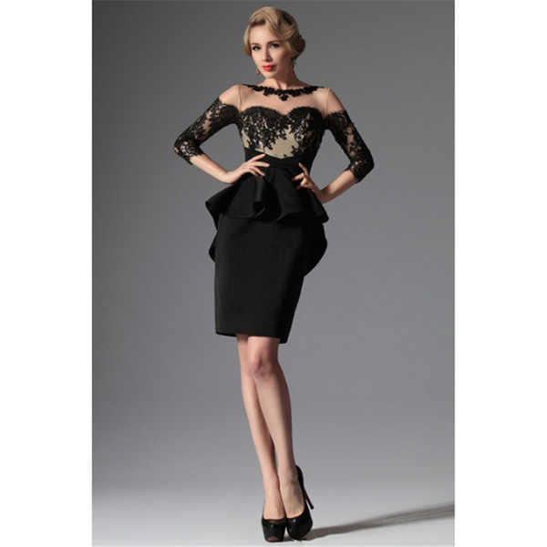 2018 setwell Latest Design Mother Of The Bride Short Dress Black Long Sleeve Evening Formal Gowns Lace Top Wedding Party