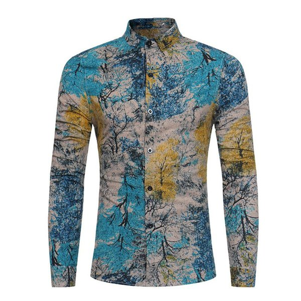 Forest Style Casual Blouses Male Shirt Big Size 3XL Tide Tops Hot Sale Men Blusa 2018 Spring New Blouse Slim Fashion Boy Shirts