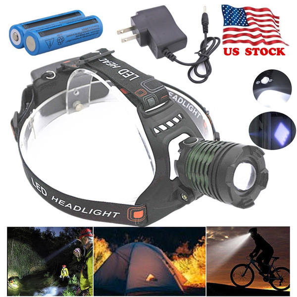 8000LM Headight Tactical T6 T6 LED Headlamp Zoomable 5 Modes SOS 2x Rechargeable 18650 Battery + Charger