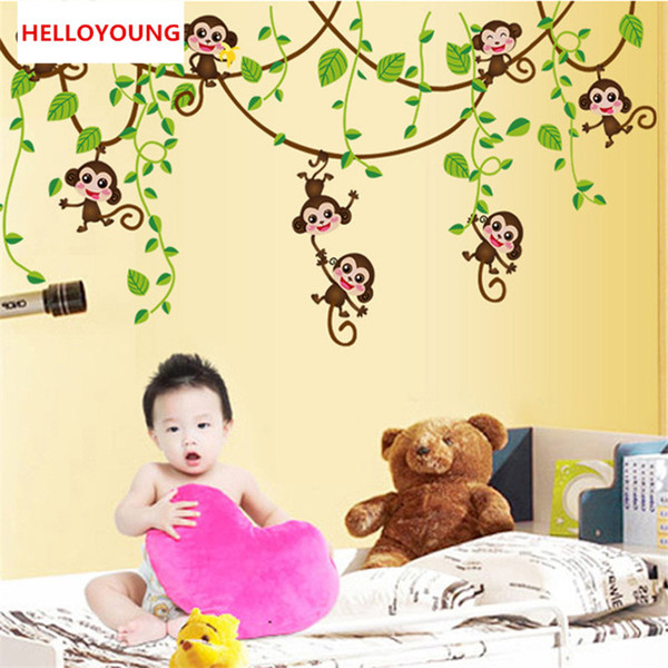 Retail Medium 50*70cm cartoon 8 cute monkey wall stickers for kids room PVC sticker for wall home decor
