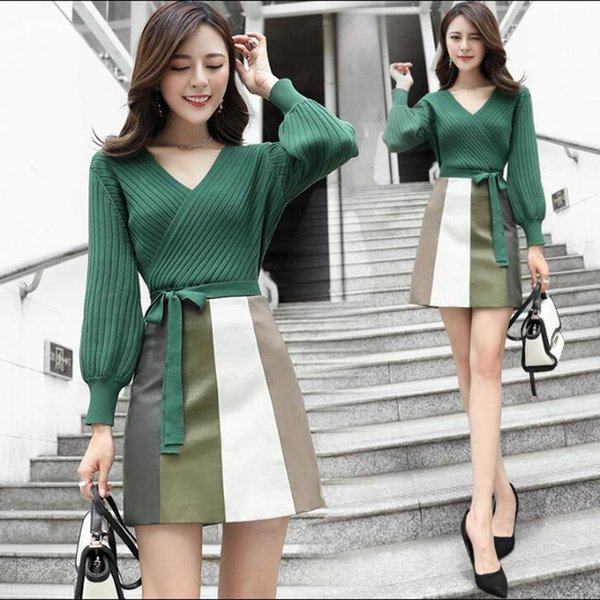 Fashion Fall Women 2 Pieces Set Bow Bandage Deep V-neck Knitted Tops And Mini Skirt Casual Sexy Female Suit Lady Streetwear D18110602