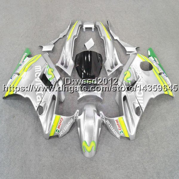 23colors + 5Gifts Muelle de la motocicleta movistar silver para HONDA CBR600F2 1991-1994 CBR 600 91 92 93 94 ABS Plastic Fairing