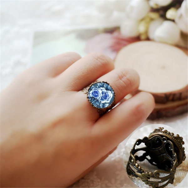 Blue Rose Flower Crown Rings Glass Dome Unisex Retro Jewelry Gifts