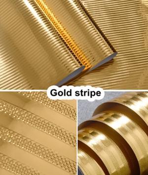 Carta da parati a strisce d'oro casa cucina mobile porta bar adesivi mobili impermeabile carta da parati in pvc auto-stick foglio di alluminio