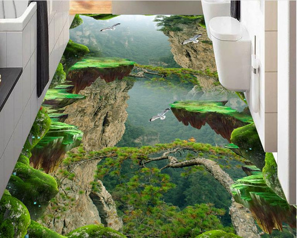 best selling Painting PVC wallpaper Forest Valley Mountain peak stereo bathroom kitchen 3D floor stickers 3d wallpaper walls