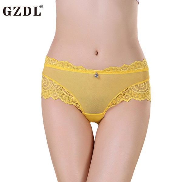 GZDL Women Lady Lace Modal Floral Sheer Sexy Panties Seamless Underwear french Knickers Briefs Thong Lingerie Calcinha NY207
