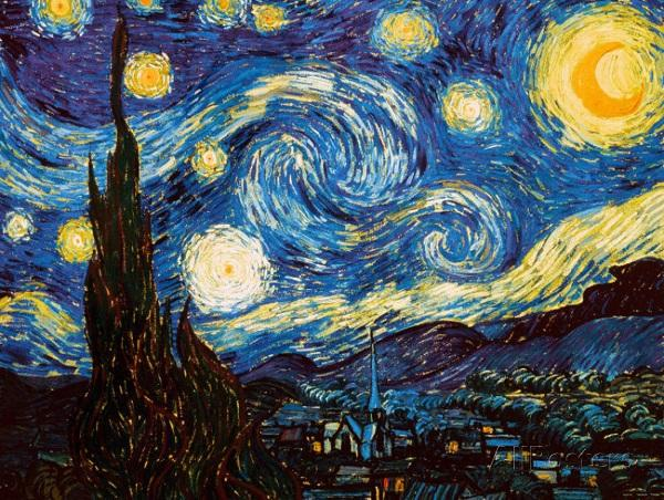 Starry Night, c.1889 Art Print By Vincent van Gogh Hand-painted & HD Print Landscape Art Oil painting On Canvas,Multi sizes /Frame OptionDH1