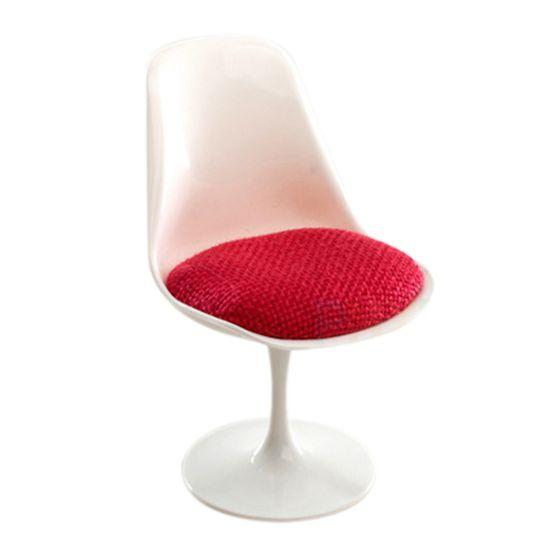 1:6 Scale Tulip Chair Swivel Chair for Dollhouse Miniature Decor White & Red