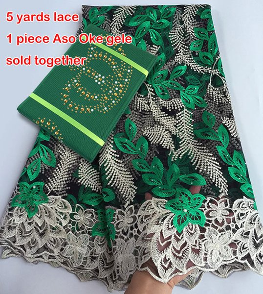 best selling 5 yards African French lace Tulle Fabric Matching Crown ASO OKE Headtie Full Length Head Gele Headscarf was beset with stones High quality