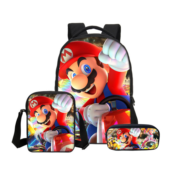 Fashion Cartoon Children Super Mario Bros Sonic School Laptop Backpack Kids School Bags  Kindergarten Pencil 16 Inch Bag