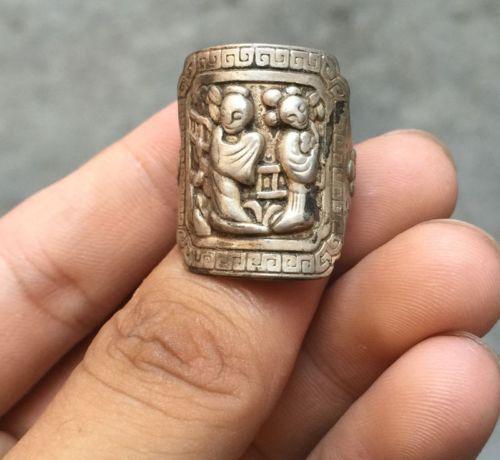 Colección de chino Miao plata tallada a mano niño niña suerte anillo