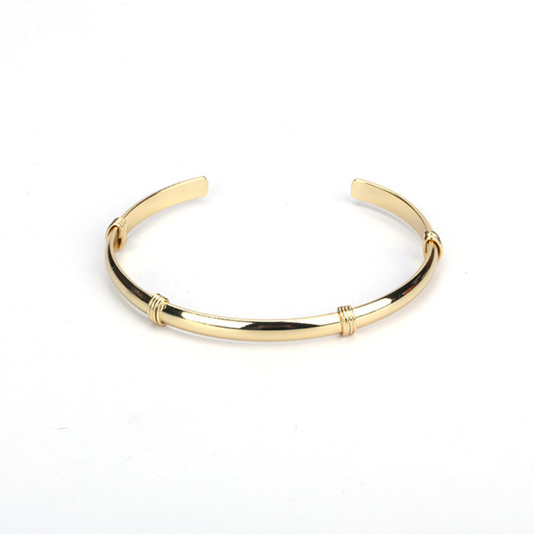Minimalist Jewelry Pure Gold Color Copper Brass Metal Wire Band Wrap Charms Adjustable Bracelet Open Bangle Cuff For Women