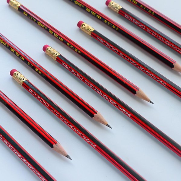 Red wooden pencils For Students Drawing Sketching Art HB pencil with eraser head Excellent Quality Traditional Stationery Student Supplies