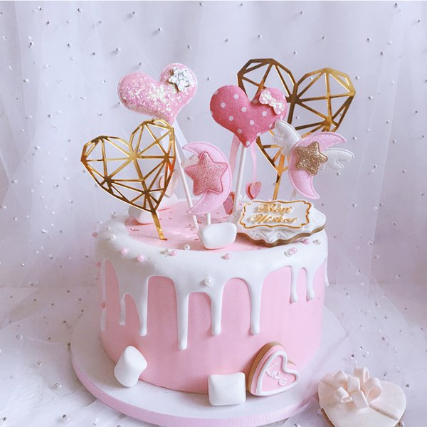 Star Moon Cake Toppers Heart Happy Birthday Cake Topper Glitter Gold Flag for Girl Baby Shower Birthday Wedding Decorations