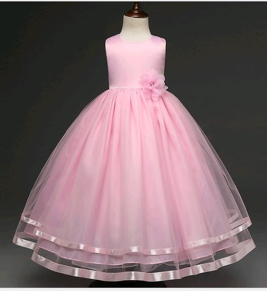 New Wedding Dresses for Kids Small Girls Puffy Solid Color Lace Mesh Beaded Flower Girl Prom Dress fit 4-12 years old child