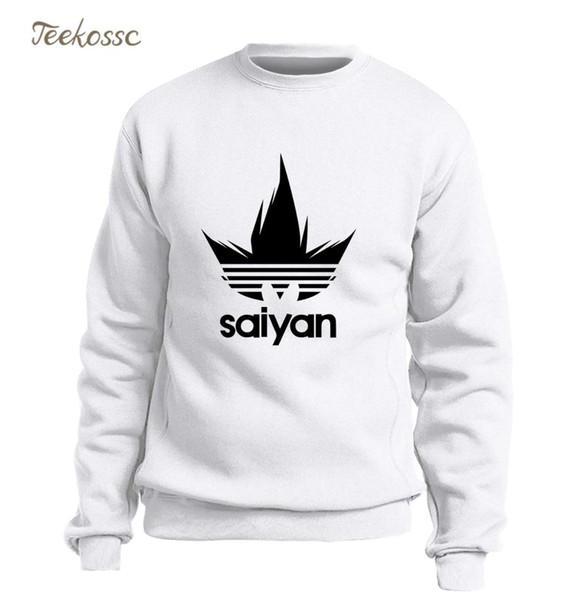 Saiyan Sweatshirt Men Black White Hoodie Japan Anime Crewneck Sweatshirts Winter Autumn Harajuku Hip Hop Streetwear