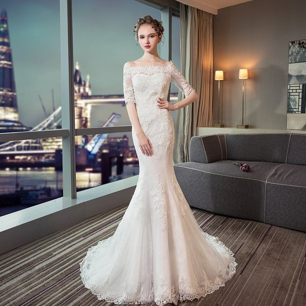 best selling Half Sleeves Mermaid Wedding Dresses with Lace Appliques 2019 High Quality Wedding Gowns Lace Up Bridal Dress
