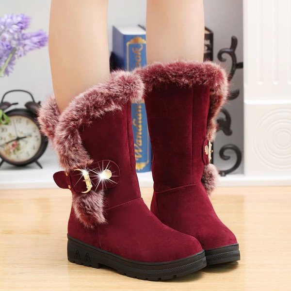 winter warm fur mid-calf boots for women snow shoes round-toe slip on flock rubber snow boots ladies zx674