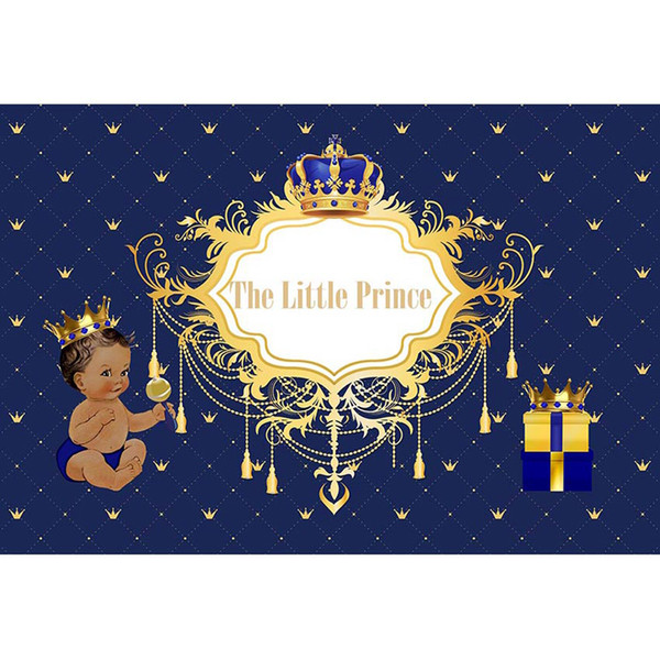 Customized Birthday Party Photo Booth Backdrop Dark Blue Printed Gold Crown Boy Kids Little Prince Royal Baby Shower Background