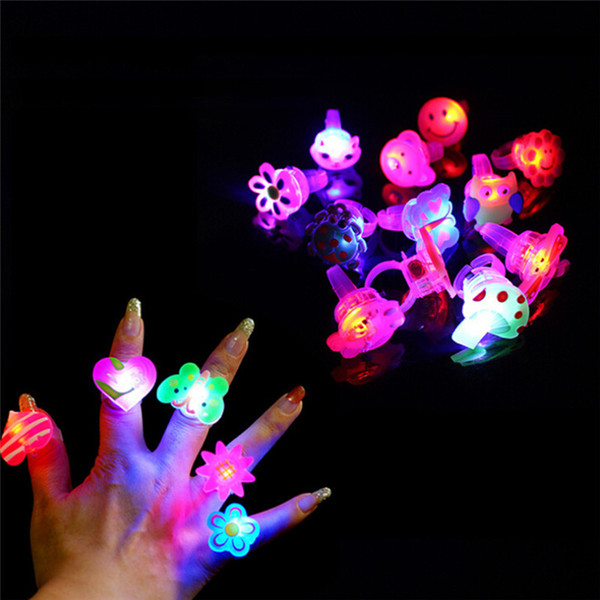 5pcs/lot Cartoon LED Flashing Light Up Glowing Finger Ring Toys Christmas New Year Party Favor Gifts Toys for Children
