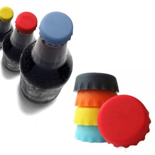 Resistente 3 * 1cm Tappi di bottiglia di birra in silicone 6 colori Tappi di chiusura Tappi per vino Coperchi per condimenti Coperture per bottiglie Gadget da cucina