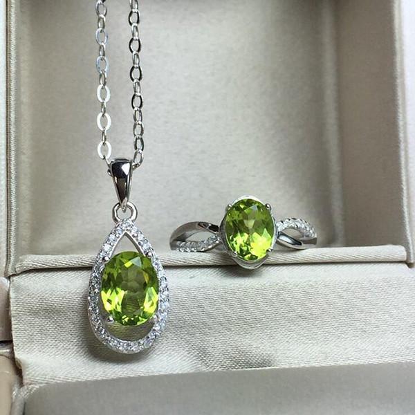 Gemstone Natural Jóias Peridot Branco Cor de Ouro 925 Conjunto de Jóias de Prata para As Mulheres Anel de Casamento / Colar Conjunto Fino YJS021