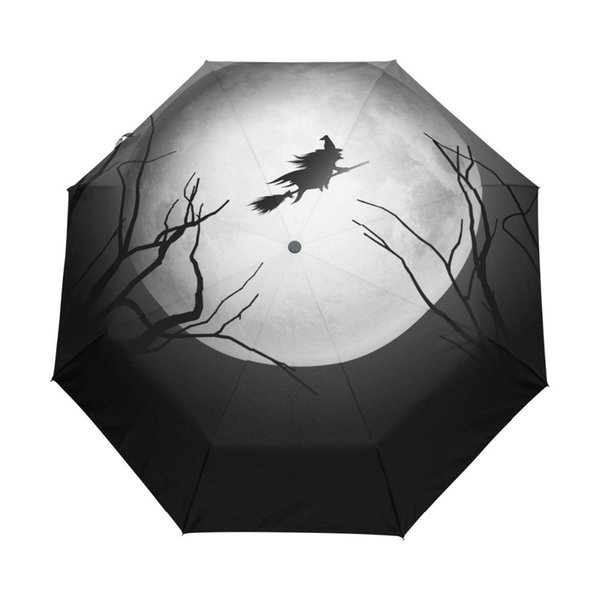 Happy Halloween Witch Umbrella Custom Portable Folding Umbrella Travel Design Rain Umbrellas Hat Unique Parasol