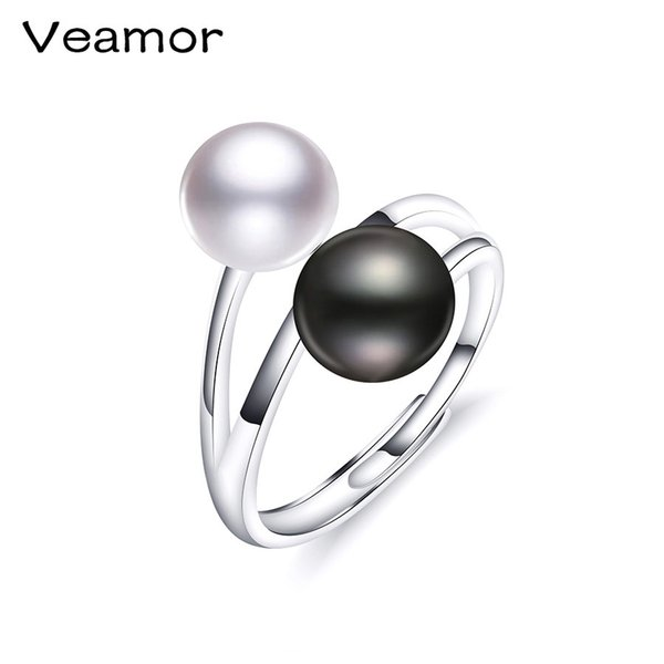VEAMOR Ring New Brand Fashion Jewelry 925 Sterling Silver Rings For Women Pearl Size 8-9mm Female Party Finger Ring Engagement Y18102610