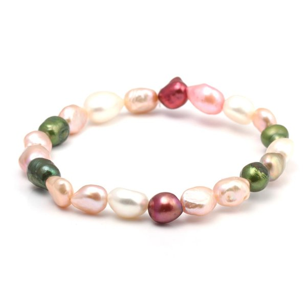 Hot Sale 100% Natural Pearl Bracelet Charms Elastic Rope Colorful Pearl Bracelets Real Gift for Girl Friend 19 cm