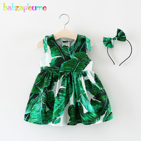 Compre Babzapleume New Born Bebê Meninas Roupas 3 Anos 2018 Vestidos De Verão Moda Verde Folhas De Algodão Sem Mangas Vestido Headwear Bc1701 De