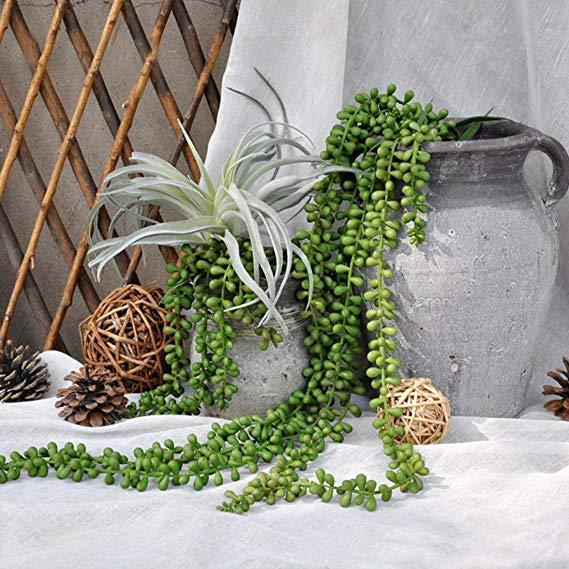 Artificial Succulents Plants String of Pearls Fake Wall Hanging Plants for Outdoor Indoor Wedding Wreath Garden Home Decor