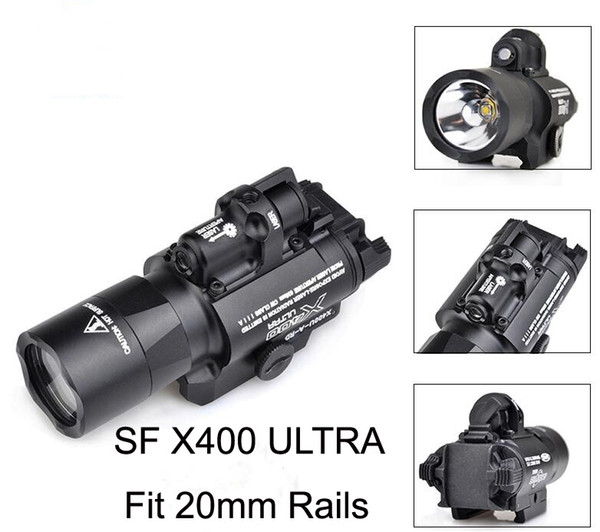 tactical sf x400 cree ultra high output led pistol m4 rifle flashlight red dot laser combo sight 20mm picatinny rail mount