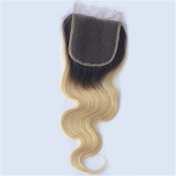 Malaysian Human Hair Body Wave Lace Closure Ombre Color 1B/613 Blonde Top Closures with Baby Hair Ping