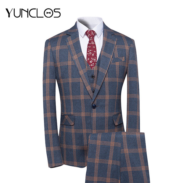 YUNCLOS 2018 New Arrival Men Suit 3 Pieces Classic Plaid Suits Men Business Wedding Suits Slim Fit Tuexdo Party Dress