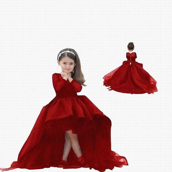 Pageant Kids Gown rosso manica lunga Hi-Lo pizzo Flower Girl Abiti per la cerimonia nuziale della ragazza Piano Lunghezza bambino partito compleanno vestito ytz266