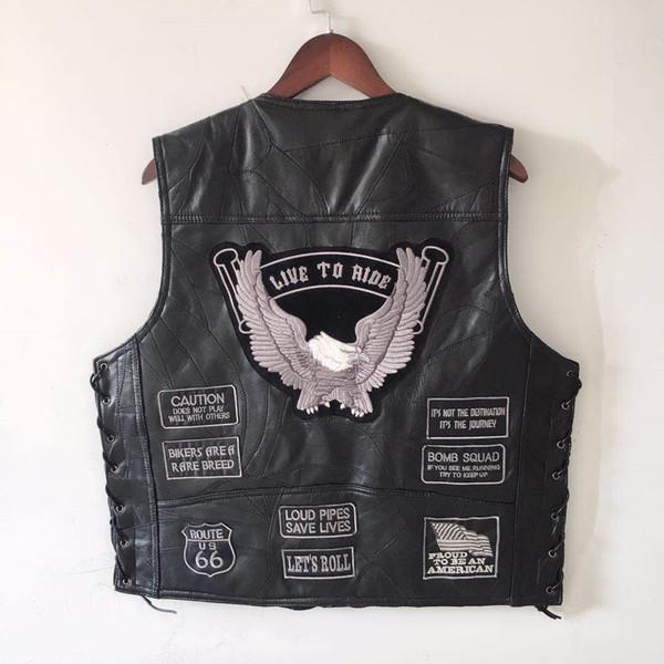 Europa e nos Estados Unidos Harley Cavaleiro Verão Colete de Equitação S-4XL Plus Size Homens Colete Repórteres De Couro Genuíno Terno Mais Do Que o Bolso