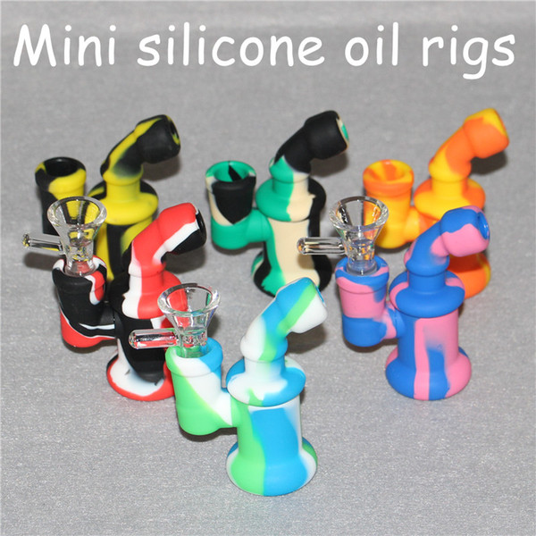 5pcs Glass Oil Rigs Glass Bong Mini Silicone Oil Rigs Heady Bubbler Water Bong with glass bowl and filtering system free DHL