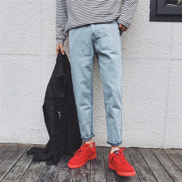 2018 New Classic Men Fashion Casual Blue Slim Feet Cowboy Pants Tide Youth Stretch Slim Fit Homme Jeans Denim Trousers Homme