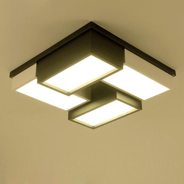 Compre De Regulable Creativa Luz Rejilla Led Y Moderno Lámpara Dormitorio Negro De De Estar Arte Blanco Techo Simple Cálida En Sala Geométrica Lámpara 54AL3Rj