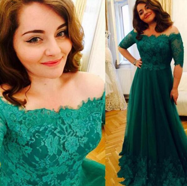 Green Lace Plus Size Evening Dresses 2019 Hot Selling New Sweep Train Applique A-Line Off-the-shoulder Tulle Mother of Bride Dresses E205