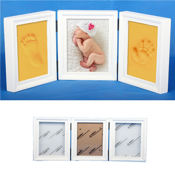 Wooden Tri-fold Photo Frame Newborn Baby Handprint Footprint Imprint Kit Baby Souvenirs With Care Air Drying Soft Clay