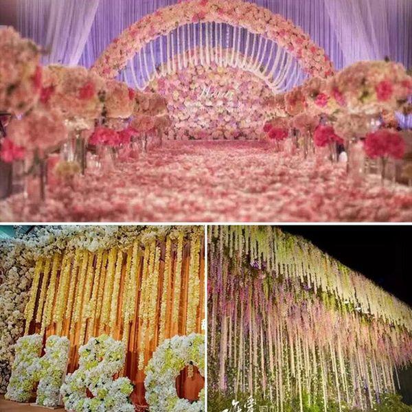 1pcs 30cm Home fashion silk wisteria artificial hydrangea party romantic wedding decorative silk garlands of artificial flowers