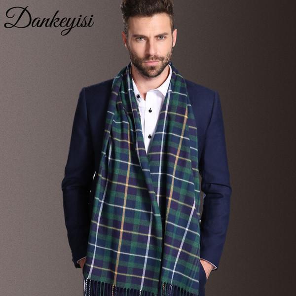 DANKEYISI Long Designer Scarf Men Plaid Cotton Scarf Male Brand Neck Foulard Bufandas Neckerchief Echarpe