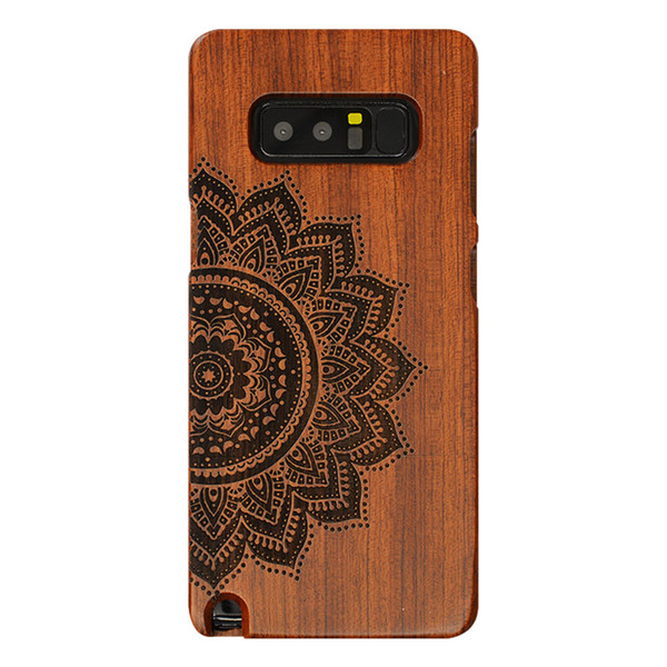 For Samsung Note 8 full wood protective shell, with unique style rosewood laser engraving Half flower pattern art cover For Samsung Note 8