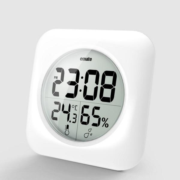 Mode Wasserdicht Dusche Zeit Uhr Digital Badezimmer Küche Wanduhr Silber Große Temperatur und Luftfeuchtigkeit Display