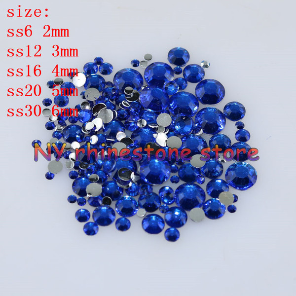 best selling 1000-10000pcs bag 2-6mm Sapphire blue Resin Crystal Rhinestones FlatBack Super Glitter Nail Art Wedding Decoration Applique Non HotFix 14