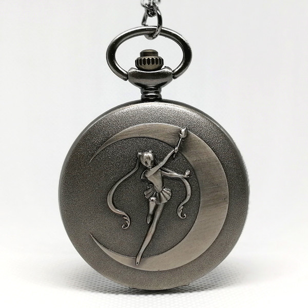 Fashion Grey Sailor Moon Anime Cartoons Blue Dial Quartz Pocket Watch Analog Pendant Necklace Girl Lady Womens Watches Gift New