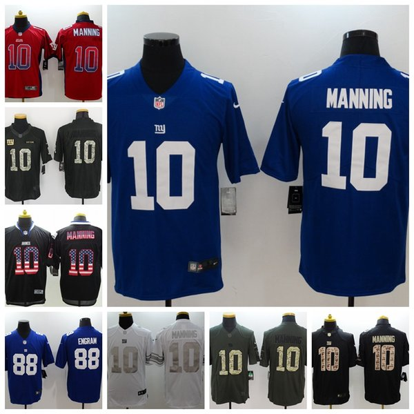 huge discount 1bc4b e99ce 2019 Mens 10 Eli Manning New York Jersey Giants Football Jersey 100%  Stitched Embroidery Giants 88 Evan Engram Color Rush Football Shirts From  ...