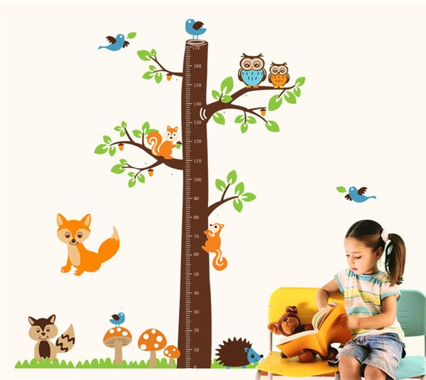 Cute Measure Height wall stickers decal kids adhesive vinyl wallpaper mural baby girl boy room nursery decor